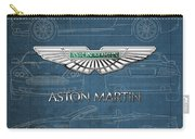 Aston Martin 3 D Badge Over Aston Martin D B 9 Blueprint Carry-all Pouch