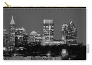 Atlanta Skyline At Night Downtown Midtown Black And White Bw Panorama Carry-all Pouch