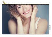 Attractive Young Woman Touching Her Hair And Face. Carry-all Pouch