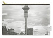 Auckland New Zealand Sky Tower Bw Texture Carry-all Pouch