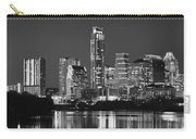 Austin Skyline At Night Black And White Bw Panorama Texas Carry-all Pouch