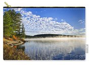 Autumn Lake Shore With Fog Carry-all Pouch by Elena Elisseeva