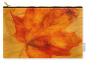 Autumn Leaf On Wood Carry-all Pouch
