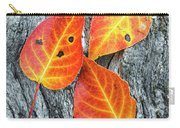 Autumn Leaves On Tree Bark Carry-all Pouch