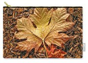Autumn's Textured Maple Leaf Carry-all Pouch