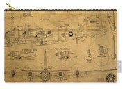 B29 Superfortress Military Plane World War Two Schematic Patent Drawing On Worn Distressed Canvas Carry-all Pouch