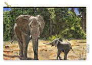 Baby And Mom Elephant Painting Carry-all Pouch