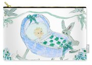 Baby Boy With Bunny And Birds Carry-all Pouch