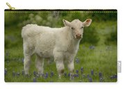 Baby Calf With Bluebonnets Carry-all Pouch