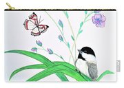 Baby Chickadee And Butterflies Carry-all Pouch