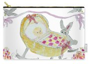 Baby Girl With Bunny And Birds Carry-all Pouch