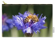 Bachelor Button And Bee Carry-all Pouch