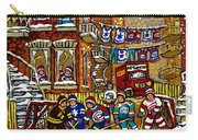 Backlane Snowy Winter Scene Hockey Game Verdun Alley Montreal Team Jerseys Canadian Art Carry-all Pouch