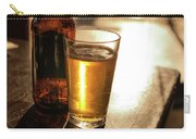 Backlit Glass Of Beer And Empty Bottle On Table Carry-all Pouch