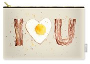 Bacon And Egg I Heart You Watercolor Carry-all Pouch