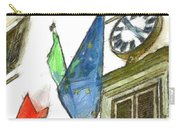 Balcony With Flags And Clock Carry-all Pouch