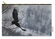 Bald Eagle In Flight-signed-#4014 Carry-all Pouch