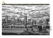Baltimore Inner Harbor Dramatic Clouds Panorama In Black And White Carry-all Pouch