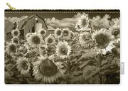 Barn And Sunflowers In Sepia Tone Carry-all Pouch