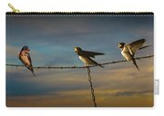 Barn Swallows On Barbwire Fence Carry-all Pouch