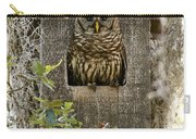 Barred Owl In Nest Box Carry-all Pouch