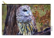 Barred Owl In The Rain Oil Painting Carry-all Pouch
