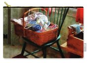 Basket Of Cloth And Yarn On Chair Carry-all Pouch