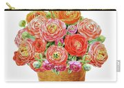 Basket With Ranunculus Flowers Watercolor Carry-all Pouch