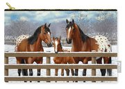 Bay Appaloosa Horses In Snow Carry-all Pouch by Crista Forest