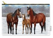 Bay Horses In Winter Pasture Carry-all Pouch by Crista Forest