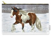 Bay Pinto Gypsy Vanner In Snow Carry-all Pouch