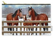 Bay Quarter Horses In Snow Carry-all Pouch