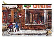 Scenes De Rue De Montreal St Henri Partie De Hockey En Hiver Hockey At Dilallo's Burger Carry-all Pouch
