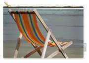 Beach Chair And Ocean Stripes Carry-all Pouch