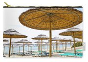 Beach Umbrellas And Chairs On Sandy Seashore Carry-all Pouch
