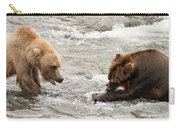 Bear Watches Another Eat Salmon In River Carry-all Pouch