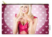 Beautiful Blonde Woman Gesturing Heart Shape Carry-all Pouch