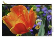 Beautiful Blooming Orange And Red Tulip Flower Blossom Carry-all Pouch