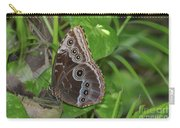 Beautiful Blue Morpho Butterfly Resting In A Garden  Carry-all Pouch
