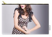 Beautiful Brunette Girl Wearing Retro Zipper Dress Carry-all Pouch