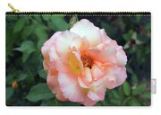 Beautiful Delicate Pink Rose On Green Leaves Background. Carry-all Pouch
