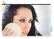 Beautiful Girl Holding A Cockle Shell Carry-all Pouch