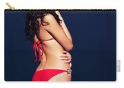 Beautiful Glamorous Woman In Red Bikini Standing In Water At Nig Carry-all Pouch
