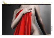 Beautiful Naked Woman Covering Herself With Red Drape Carry-all Pouch