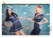 Beautiful Navy Pinup Girls On Marine Background Carry-all Pouch