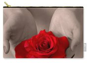 Beautiful Nude Woman Holidng Red Rose Carry-all Pouch