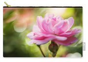 Beautiful Pink Rose Blooming In Garden With Natural Bokeh Carry-all Pouch
