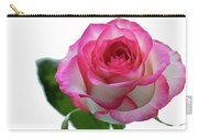 Beautiful Pink Rose With Leaves On A Wite Background. Carry-all Pouch