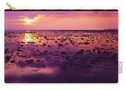 Beautiful Purple Sunset During Tide Shows Up Rocky Beach Carry-all Pouch