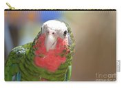 Beautiful Red Feathers On The Throat Of A Green Conure Bird Carry-all Pouch